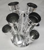 4 x Metal Retail Display Stands For Flowers - Comes Complete With 40 x Metal Flower Pots