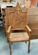2 x Medieval Style Wooden Banqueting Chairs - Dimensions: 170x68cm - Ref: Lot 48 - CL548 - Location: