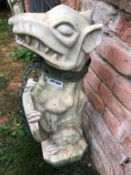 1 x Tall Gothic Style Guard Dog Statue Holding Shield with Metal Dog Colllar and Chain Lead -