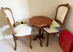 1 x Antique Reproduction Mahogany Table and Chair Set - Stunning Inlaid Table With Pillar Base and