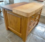 1 x Rustic Solid Wood French Country Kitchen Island With Drawers, Wine Racking + Chopping Block Top