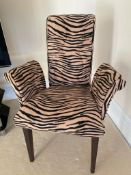Pair of Cattelan Italia Side Chairs With Scroll Back and Arms Upholstered in a High Quality Tiger