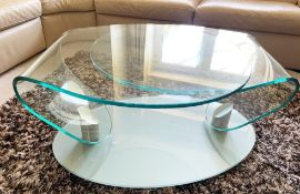 1 x Contemporary Extending Coffee Table With Two Glass Swivel Bases and Smoked Glass Base - Size:
