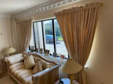 1 x Pair of Fabric Curtains With Blackout Liner and Brass Curtain Rail - Height 220 x Pole Length