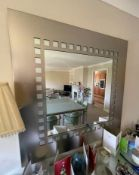 1 x Brushed Metal Wall Mirror With Smoked Glass Squares - Size: 110 x 110 cms - CL636 - Location:
