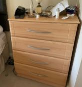 2 x Chests of Bedroom Drawers With a Beech Finish - Size: H105 x W82 x D49 cms - CL636 - Location: