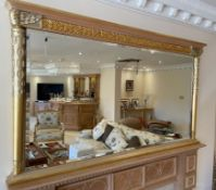 1 x Ornate Overmantel Wall Mirror With Fine Carving Work and Moulded Cornice - Features a Bevelled