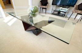 1 x Cattelan Italia Designer Coffee Table With Wenge Wood and Marble Base - NO VAT ON THE HAMMER -