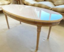 1 x French Shabby Chic Oval Coffee Table With Marble Top and Ornate Carved Base - Size: H50 x W118 x