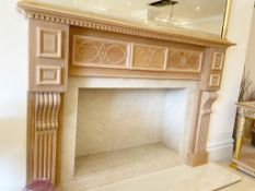 1 x Wooden Fire Surround With Marble Fire Place and Hearth - Size H118 x W174 x D14 cms With 180 x
