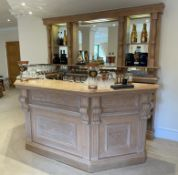 1 x Bespoke Solid Beech Home Bar With Backbar - Beautifully Crafted With Panelling and Curved
