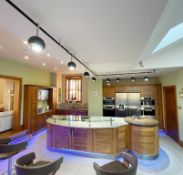 1 x Bespoke Curved Fitted Kitchen With Solid Wood Walnut Doors, Integrated Appliances, Granite Tops