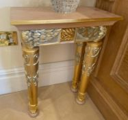 1 x Hand Carved Ornate Lamp Tables Complimented With Birchwood Veneer, Golden Pillar Legs, Carved