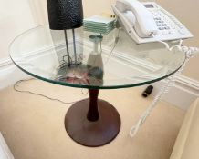 2 x Side Tables With Dark Wood Bases and 58cm Bevelled Glass Round Tops - NO VAT ON THE HAMMER -
