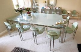 1 x Large Dining Table With 14 Chairs - Contemporary Design With Smoked Glass Top, Silver Metal