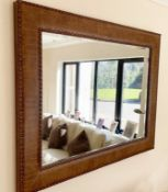 1 x Large Wall Mirror With Studded Crocodile Skin Effect Leather  Upholstery Bevelled Edge Glass