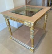 2 x Hand Carved Ornate Side Tables Complimented With Birchwood Veneer, Golden Pillar Legs, Carved