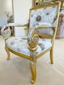 Pair of Scroll Arm Side Chair With Beautiful Carving and Bespoke Upholstery - Size: H105/46 x W75  x