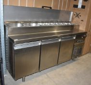 1 x Infrico Triple Door Commercial Chiller With Pizza / Salad Topper Workbench - 240v UK Plug - Size