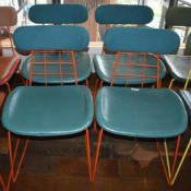 4 x Contemporary Dining Chairs in Green and Orange - Ref: RB140 - CL558 - Location: Altrincham