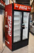 1 x Coca Colar Two Door Upright Drinks Cooler - Model True GDM-35 - Ideal For Retail Shops, Take