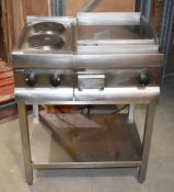 1 x Lincat Cook Station With Solid Top Griddle and Two Ring Burner - Electric 240v - All Stainless