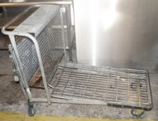 1 x Stainless Steel Commercial Packing Trolley With Fold-down Back Shelf - Dimensions: H90xW61xD110