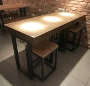 1 x Restaurant Dining Table With Industrial Metal Base and Copper Top - Size H91 x W180 x D70 cms -