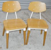 8 x Contemporary Commercial Dining Chairs With A Sturdy Light Wood And Metal