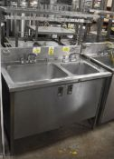 1 x Commercial Kitchen Wash Station With Two Large Sink Bowls, Mixer Taps, Overhead Drying Rack