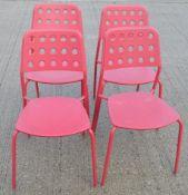 5 x Emu Branded Italian Made Outdoor Metal Stackable Bistro Chairs In Magenta (Hot Pink) -