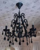 1 x Ornate 6-Arm Chandelier In Black -NO VAT ON THE HAMMER - Preowned - CL605 - Location: Hale,