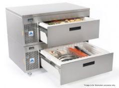 1 x ADANDE VCS Commercial Under Counter Double Drawer Fridge Unit - Dimensions: H89 x W110 x D70cm -