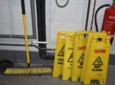 1 x Wet Floor Brush and 6 x Caution Wet Floor Signs PME398