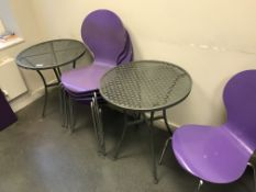 1 x Staff Canteen / Cafe Furniture Set - Includes 3 x Metal Laser Cut Tables, 6 x Stackable Chairs