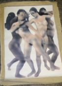 1 x Vintage Original Painting On Hessian Canvas Featuring Provocative Nude Imagery - Artist