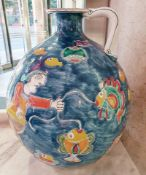 1 x Large Italian Handpainted 'Giovanni DeSimone' Fisherman Jug / Flask - Signed By The Artist -