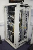 1 x Server DATA Rack Cabinet With Dell Power Edge T420 Server, Cisco 2921, Alcatel OS6250-8M,