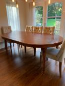 1 x Large Wooden Extending Dining Table With Leaves - Dimensions: 207cm Extended / 120cm