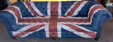 1 x Chesterfield-Style Button Back Sofa With A Union Jack Design - Dimensions: H78xW97xL242 - Pre-