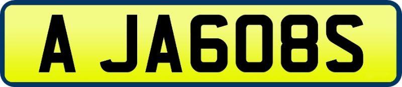 1 x Private Vehicle Registration Car Plate - A JA608S -CL590 - Location: Altrincham WA14