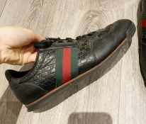 1 x Pair Of Genuine Gucci Mens Trainers In Black - Size: UK 8.5 - Preowned in Worn Condition - Ref