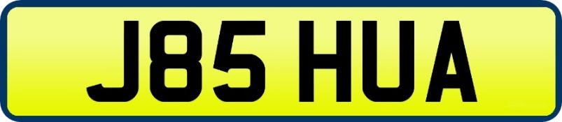 1 x Private Vehicle Registration Car Plate - J85 HUA - CL590 - Location: Altrincham WA14