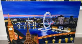 1 x Large Original Painting on Canvas - The London Eye at Night - Features Big Ben, London Eye and