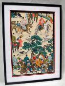 1 x FRATO Designer Framed Printed Artwork On Silk - Frame Dimensions: H112 x W85 x D4.5cm