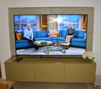 1 x Bespoke Wall Mounted Floating Television Unit - Contemporary Pistachio Green Finish With