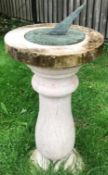 1 x Solstice Stone Sundial Shaped Pedestal With Dial Plate - Measurements Height 84cm x Diameter