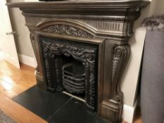 1 x Ultra Rare Antique Victorian Cast Iron Fireplace Ornamental Detail Surrounding And Insert -