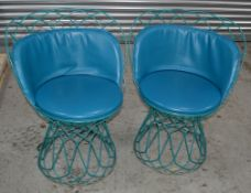 2 x Commercial Outdoor Wire Bistro Chairs With Padded Seats In Blue - Dimensions: H80 x W62 x D45cm