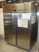 1 x WILLIAMS Upright 2-Door Stainless Steel Commercial Chiller Unit - Dimensions: H195 x W140 x